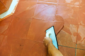 stock photo of grout  - a tiler carries on floor tiles on the grout - JPG