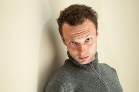 picture of sarcastic  - Closeup portrait of young sarcastic Caucasian man - JPG