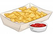 pic of nachos  - Illustration Featuring a Plate of Nachos Accompanied by a Bowl of Salsa - JPG