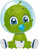 foto of suck  - Illustration Featuring a Male Baby Alien in Diapers Sucking a Pacifier - JPG