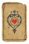 picture of frazzled  - antique used grunge playing card ace of hearts isolated on white - JPG