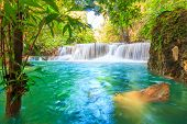 picture of waterfalls  - Waterfalls In Deep Forest at Huai Mae Khamin Waterfall in National Park Kanchanaburi Thailand - JPG