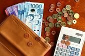 picture of subtraction  - Photo of a bunch of cash money in a leather wallet - JPG
