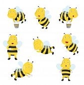 stock photo of bee cartoon  - Illustrator of bees funny cartoon cute collection - JPG