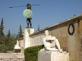 stock photo of sparta  - bronze statue of king leonidas greece king of the spartans - JPG