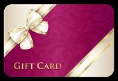 stock photo of exclusive  - Exclusive scarlet gift card with cream diagonal ribbon - JPG