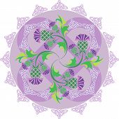 stock photo of scottish thistle  - vector image celtic symbols ornament with flowers thistle and Celtic knots - JPG