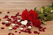 picture of wedding feast  - roses as a gift and surprise to a feast - JPG