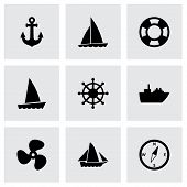 stock photo of viking ship  - Vector ship and boat icon set on grey background - JPG