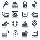 picture of security  - Security internet computer network data safe mobile secure black icons set isolated vector illustration - JPG
