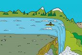 picture of canoe boat man  - Single canoe with man near edge of waterfall - JPG