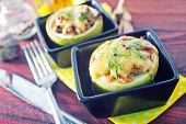 image of marrow  - marrow stuffed with cheese and meat in bowl - JPG
