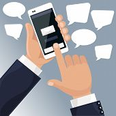 pic of sms  - Man holding smartphone in his hand and sends message via sms chat cartoon flat design style - JPG