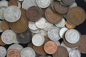 foto of shilling  - A pile of old Australian silver and copper coins - JPG