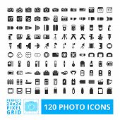 picture of grids  - Photo camera black web and system icons with accessories set - JPG