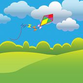 pic of kites  - Summer background with flying kite - JPG
