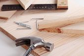 image of carpentry  - Some carpentry tools on a wooden table - JPG