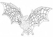 stock photo of bat wings  - Great bat with outstretched wings with veins of blood - JPG