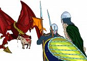 stock photo of great horse  - Great magical red dragon and two knights - JPG