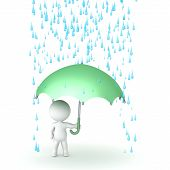 stock photo of rain-drop  - 3D character holding an umbrella and with rain drops above him - JPG