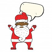 image of ugly  - cartoon ugly santa claus with speech bubble - JPG