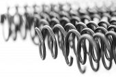stock photo of amortization  - many steel springs on white background isolated - JPG