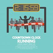 pic of countdown  - Countdown Clock At Finish Line Vector Illustration - JPG