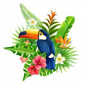 foto of toucan  - Tropical flowers and plant fronds set with toucan bird vector illustration - JPG