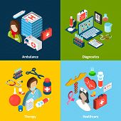 pic of ambulance  - Medical design concept set with ambulance diagnostics therapy healthcare isometric icons isolated vector illustration - JPG