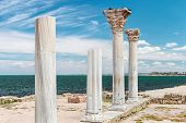 stock photo of sevastopol  - Ancient Greek basilica and marble columns in Chersonesus Taurica - JPG