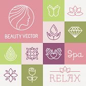 pic of flower shop  - Vector spa and cosmetics logo design templates in trendy linear style  - JPG