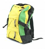 stock photo of bagpack  - Yellow polyester bagpack - JPG