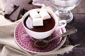 stock photo of hot-chocolate  - Hot chocolate with marshmallows in mug - JPG