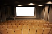 picture of cinema auditorium  - Empty cinema with white isolated screen and brown chairs - JPG