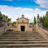 stock photo of calvary  - Majorca esglesia del Calvari church in Pollenca Pollensa at Mallorca spain - JPG