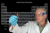 image of periodic table elements  - Scientist studying a vial of chemical in front of a Periodic table of Elements - JPG