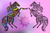 stock photo of paint horse  - Hand drawn greeting card ornament illustration concept - JPG
