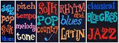 picture of bluegrass  - Collage of 5 images with painted music related words on a stucco wall - JPG