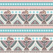 picture of wigwams  - Tribal vector seamless pattern with native American Indian symbols - JPG