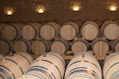 image of wine cellar  - The Wine cellar with barrels in stacks - JPG