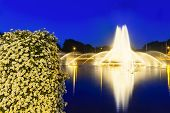 stock photo of night-blooming  - The famous Europaplatz fountain in Aachen Germany at night with a bush of beautiful flowers in the foreground - JPG