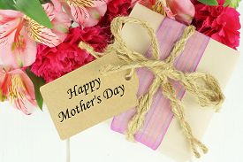 foto of carnations  - Gift box with Happy Mother - JPG
