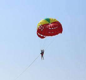 image of parasailing  - Parasailing with sky at Patong Beach in Phuket  - JPG