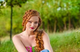 picture of freckle face  - Portrait of a beautiful red - JPG
