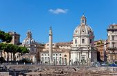 Italy. Rome. Trojan column churches of Santa Maria di Loreto and Santissima Nome di Maria