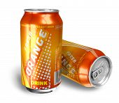 Orange soda drinks in metal cans