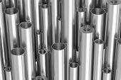 Many Different Steel Pipes Industrial Background poster