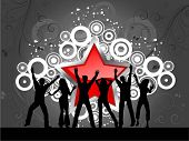 foto of party people  - Party people on star background - JPG