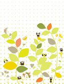 Floral garden silhouette with cute owls