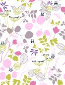 Vector floral with cute baby birds (Seamless Pattern)